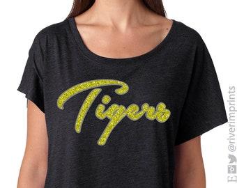 1e6edfc0e133 Glitter TIGERS Mascot Womens Shirt // Tiger Bling Dolman, Ladies Sparkle  Tiger Fan Shirt, School Mascot, Team Spirit