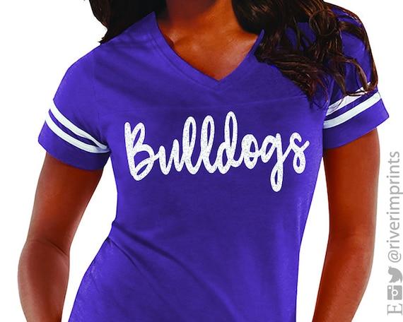 Team Spirit Ladies Sparkle Bulldog Fan Shirt School Mascot Bulldog Bling Hoodie Glitter BULLDOGS Mascot Womens Sweatshirt