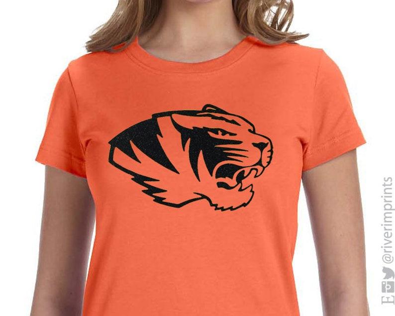 82d858d5f117 Glitter TIGERS Mascot Womens Shirt Tiger Bling Tee Ladies | Etsy