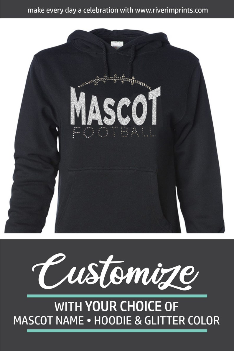 Custom Glitter Football Heart Womens Hoodie Sweat Shirt Spirit Wear Hooded Tee