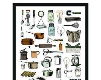 farmhouse vintage kitchen print