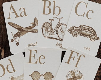 sepia rustic alphabet flashcards