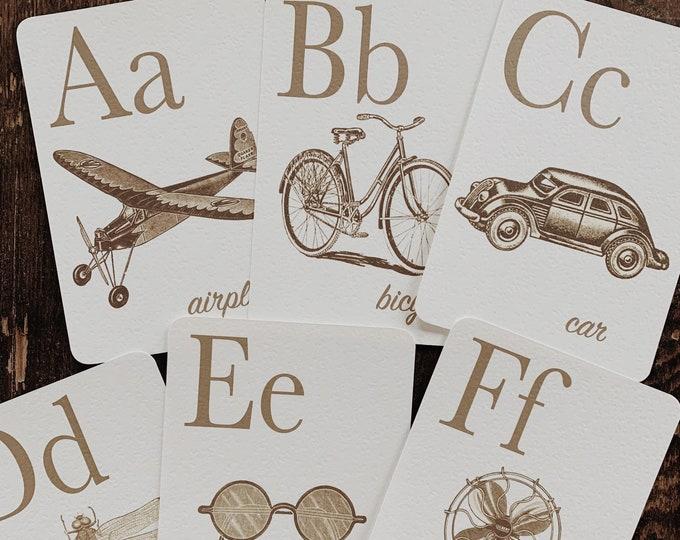 sepia rustic alphabet flashcards