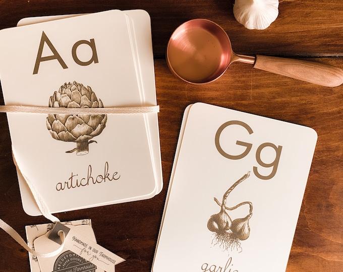 eat more plants, sepia, rustic alphabet flashcards