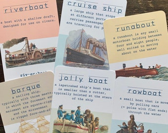 vintage nautical flashcards