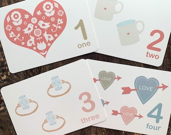 valentine counting flashcards
