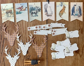 winter animal tags/ ornaments