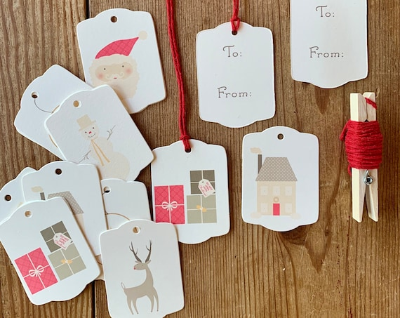 soft color Christmas tag set
