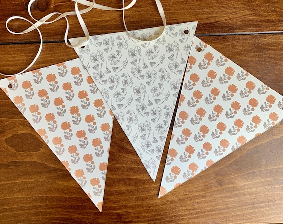 vintage orange floral pattern triangle bunting (double sided)