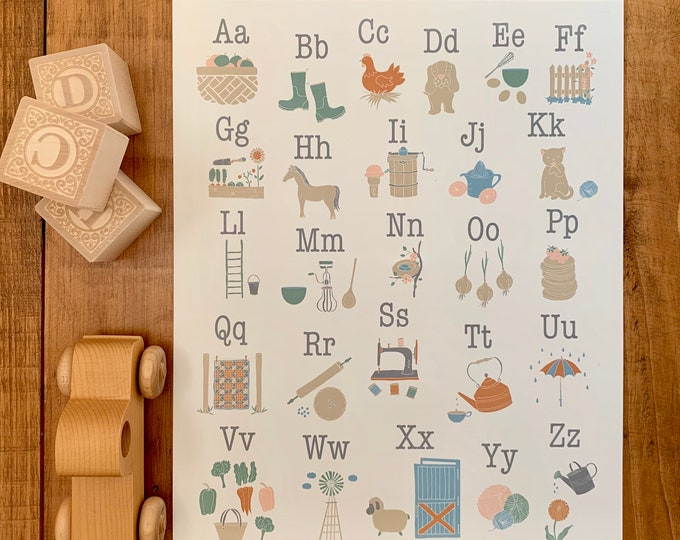 hand drawn farm alphabet print