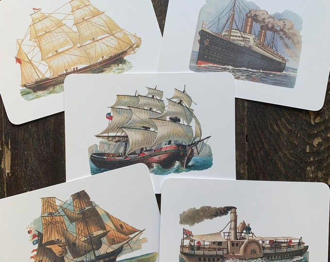 vintage nautical flashcards