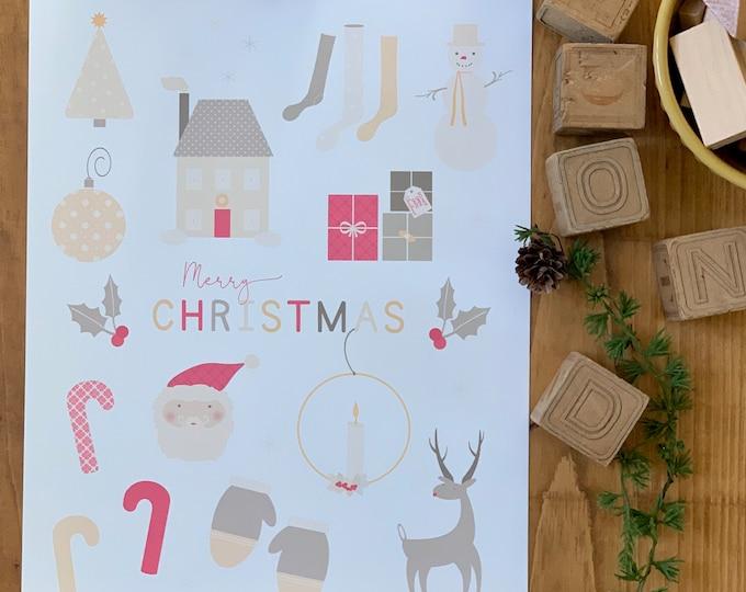soft color Christmas print