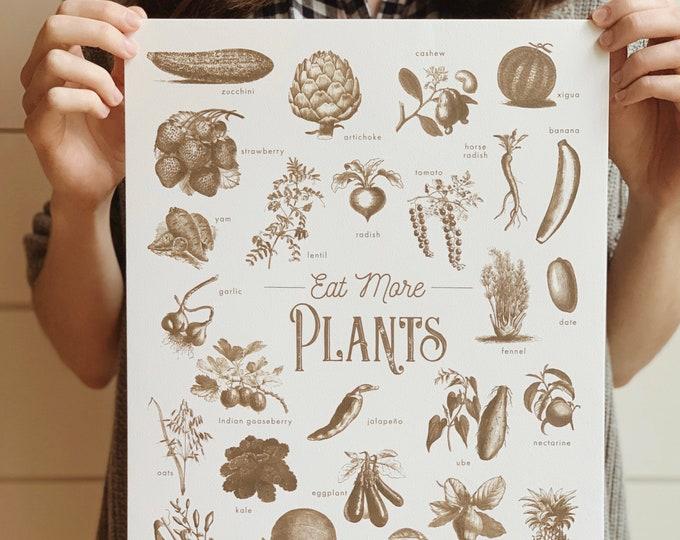 eat more plants vintage sepia print