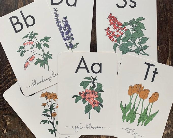 flower alphabet flashcards