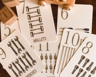 vintage tools counting flashcards