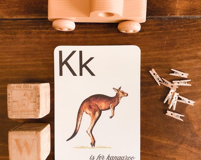 vintage storybook animal alphabet flashcards