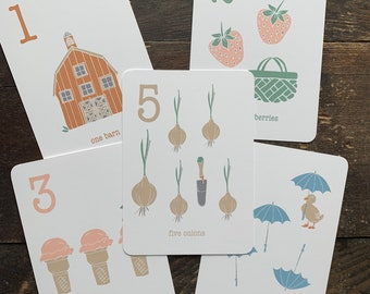 hand drawn farm life counting flashcards