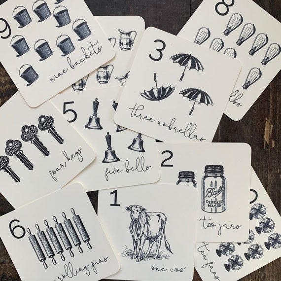 vintage farmhouse square counting flashcards