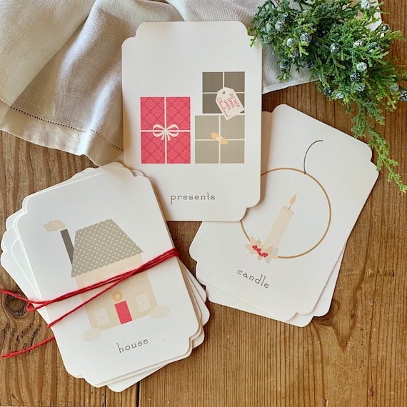 soft color Christmas flashcards