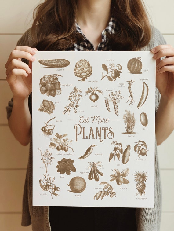 eat more plants vintage sepia print