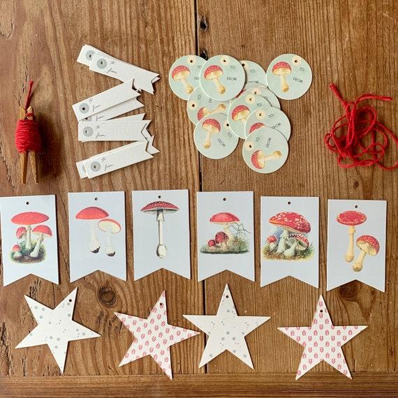 mushroom tags/ ornaments