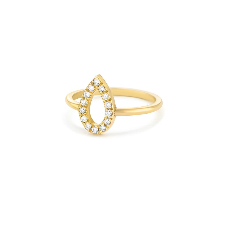 vintage classic style Pear shape diamonds Ring minimalist ring pear shape ring 14K Yellow Gold gold and diamond ring
