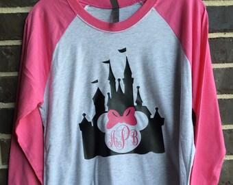 Free shipping!! Mouse Monogram Castle Raglan/ Raglans/Character shirts/ Princess Shirts/ Castle Shirts/ Monogram Shirts