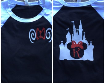 Free Shipping!! Castle Monogram Raglan Shirts / Vacation Shirts / Mouse Raglan