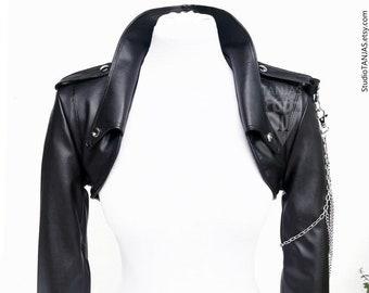 NARZAN biker leather bolero jacket  | heavy metal punk cropped jacket | blazer jacket one of a kind | customized bolero jacket