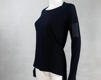 ZARYA jersey tunic shirt with mesh sleeves | made to fit darkwave fashion | urban goth long sleeve shirt