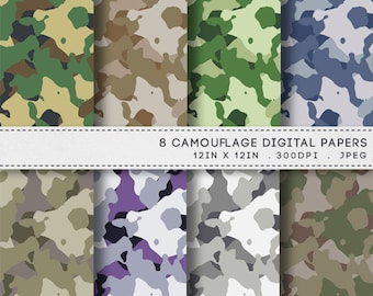 Camouflage Digital Paper Printable Paper Pack / INSTANT DOWNLOAD / 8 Digital Papers / Printable Army Camouflage Backgrounds Patterns / 063