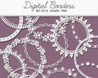 Digital Round Decorative Borders Frames / INSTANT DOWNLOAD / Clip Art Set of 12 / 163