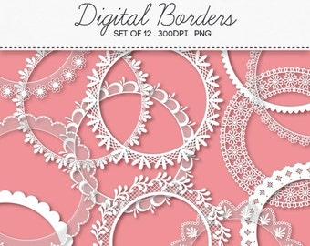 Digital Round Decorative Borders Frames / INSTANT DOWNLOAD / Clip Art Set of 12 / 140