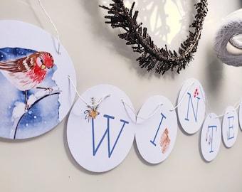 Winter garland, Christmas decoration, winter decoration, 6.3 cm, uncoated, customizable, handmade