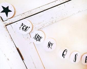 Paper garland stars, 6.3 cm Dm, customizable, unworked, garland, stars, name garland, wedding garland, black and white