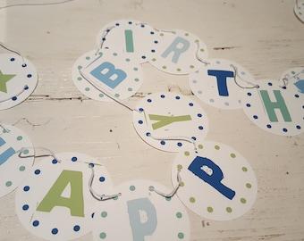 Paper garland HAPPY BIRTHDAY + Nme 6,3 cm Dm UNAUFGEFÄDELT