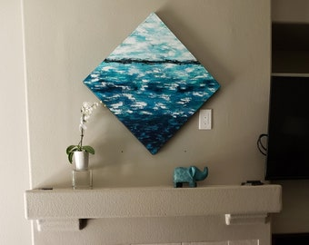 "Large Seascape, BLUE HORIZON, Acrylic Painting, 24"" x 24"" on point Gallery Canvas, Ocean, Coastal Art, Interior Design"