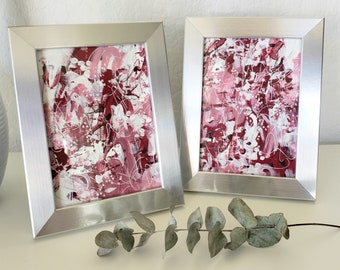 """Framed """"FOREVER & ALWAYS"""" Abstract Original Paintings on Paper"""", 5 x 7, Contemporary Art, Valentine Gift, Home Decor"""