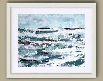 "IN MOTION Art Print 10"" x 8"", Abstract Art by Sue Allemand, Meditation Paintings, Coastal, Ocean, Inspirational Joyful"