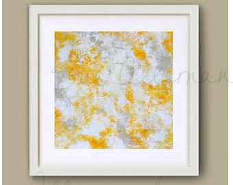 "SUNLIGHT ON the POND, Original Art Print 8"" x 8"", Painting by Sue Allemand,  Yellow White Inspirational Abstract Art, Zen Wall Art"