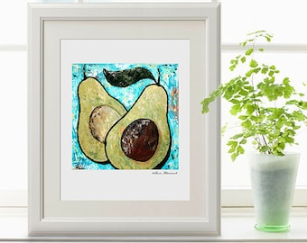 Avocado Art Print Abstract from Acrylic Painting Palette Knife Art