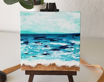 MINI OCEANS #9, Original Oceanscape Painting on Canvas, 4 x 4,  Wood Easel, Contemporary Art, Abstract Landscape, Ocean