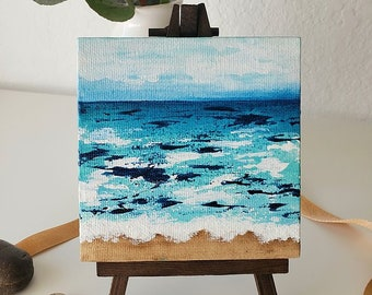 MINI OCEANS #1, Original Oceanscape Painting on Canvas, 4 x 4,  Wood Easel, Contemporary Art, Abstract Landscape, Ocean