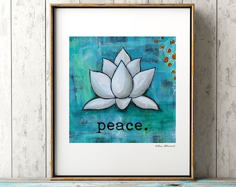 Peace Art Print Abstract White Lotus Acrylic Painting, Yoga Inspired, Relax, Mediation