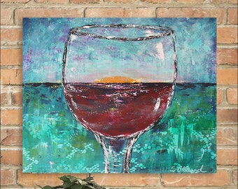 """Large Acrylic Painting, Wine, Sunset, Turquoise Blue Red, Coastal Summer, Palette Knife,  24"""" x 30"""" Gallery Canvas"""