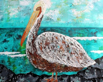 "FIRST WATCH, Large Expressionist Art, Pelican, Ocean, 36"" x 36"" Acrylic Mixed Media Painting"