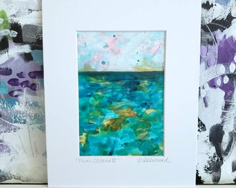 """Small Abstract Landscape Painting, """"Mini Oceans III"""" Original Painting on Paper"""", 5 x 7 , Matted to 8 x 10,  Contemporary Art"""