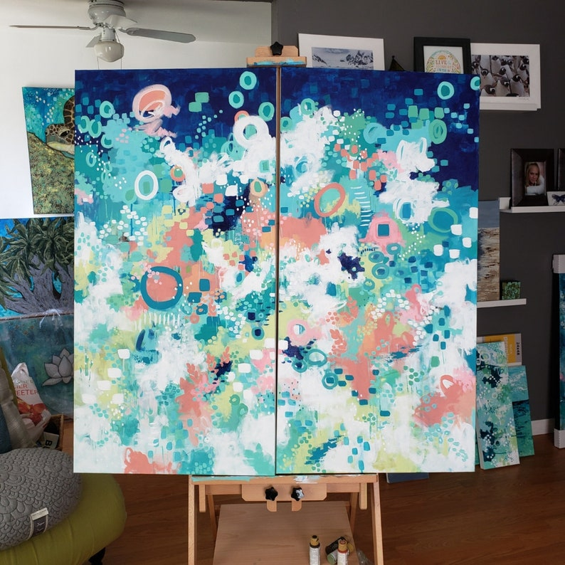 IN the FLOWER FIELDS Large Abstract Art Diptych 48 x image 0