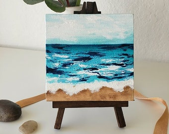 MINI OCEANS #12, Original Oceanscape Painting on Canvas, 4 x 4,  Wood Easel, Contemporary Art, Abstract Landscape, Ocean