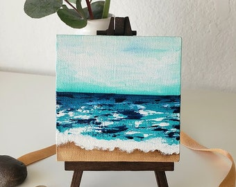 MINI OCEANS #11, Original Oceanscape Painting on Canvas, 4 x 4,  Wood Easel, Contemporary Art, Abstract Landscape, Ocean